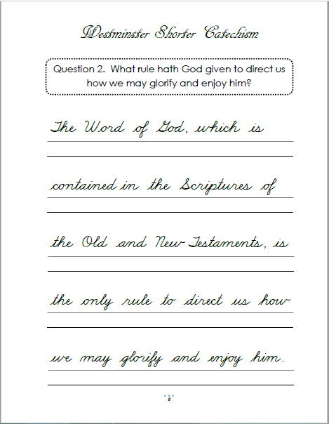 image about Westminster Shorter Catechism Printable referred to as Westminster Limited Catechism Copywork